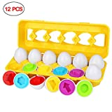 Aitey Matching Egg, Toddler Educational Easter Egg Toys Shapes and Colors Learning Toys Matching Egg Set for Kids Boy Girl Gift 3 Year Old and Up (12 Eggs)