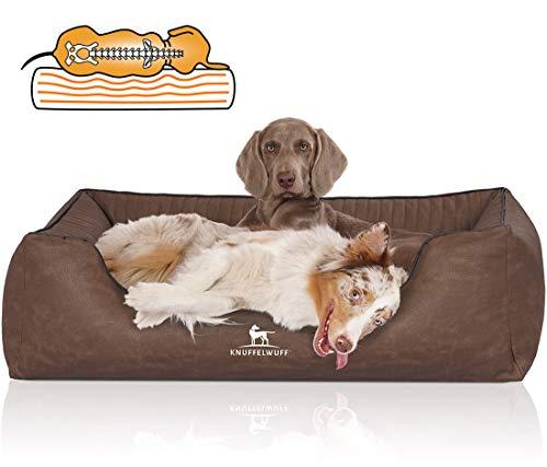 Knuffelwuff 14123-009 Orthopädisches Hundebett XXL Hundekorb Hundekissen Hundekörbchen aus Kunstleder Columbia 120 x 85cm Braun