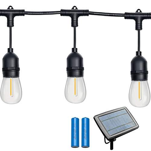 Gr8buy 48FT Solar Outdoor Patio String Lights 16pcs E26 Vintage Edison LED Bulbs, Waterproof Camper Cafe Lights Hanging RV Garden Backyard Festoon Christmas Decorative Gift, USB Charge(Warm White)