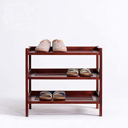 XWZH Zapatero de madera a prueba de polvo para zapatos de 3 niveles, para pasillo grande, organizador de muebles, color marrón, 4 colores opcionales (color: color rojo vino)