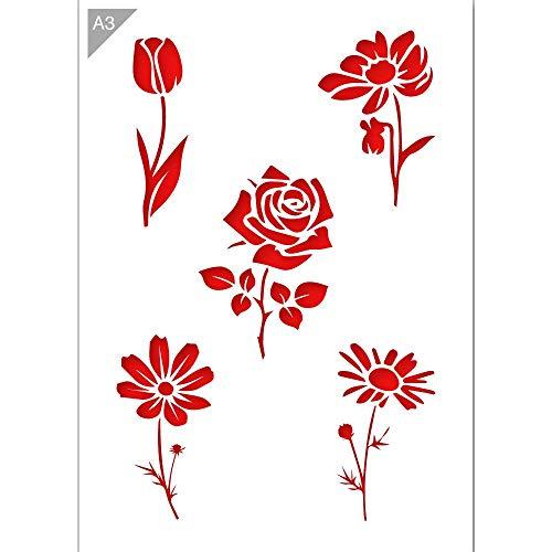 QBIX Blumen Schablone - Tulpe Schablone - Rose Schablone - Gänseblümchen Schablone - A3 Größe - Wiederverwendbare Kinder freundlich DIY Schablone zum Malen, Backen, Basteln, Wand, Möbel