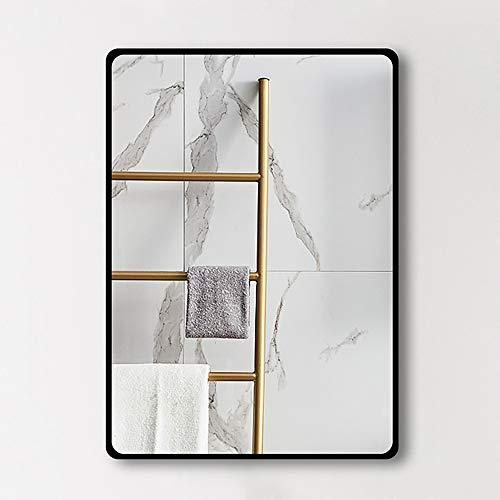 WYZQQ Badkamerspiegel, rechthoekig, smeedijzeren frame, wandspiegel, decoratieve spiegel voor make-up-HD-spiegel met verblindingsbescherming, zilver-verticaal of oriëntaalzone
