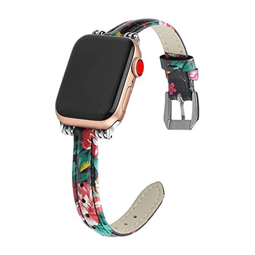 Mersidany Correa de Cuero Delgado para Apple Watch Series 6 5 4 3 2 1 SE, Correa de muñeca para iWatch 38mm 40mm 42mm 44mm (42/44mm,G)