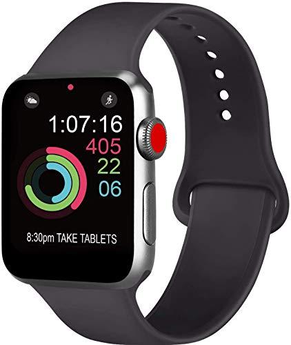 Correa compatible para Apple Watch de 44 mm, 42 mm, 38 mm, 40 mm, correa deportiva de silicona para hombre y mujer para iWatch Serie 5 4 3 2 1