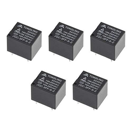 DyniLao 5 piezas JQC-3FF-SZ DC 24 V bobina SPDT 5 pines PCB relé de potencia electromagnético