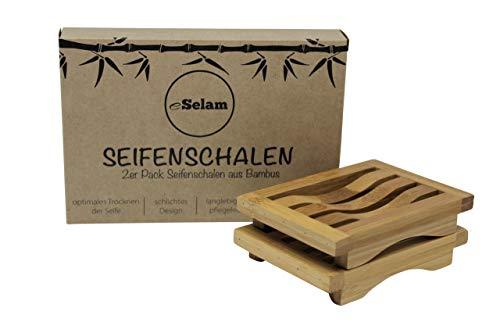 eSelam Seifenschalen aus Bambus 2er Pack - optimales Trocknen und Lagern Ihrer Seifen - schönes und schlichtes Design - 100% plastikfrei