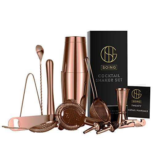 Soing 15-Piece Rose Copper Cocktail Shaker Bar Set,Stainless Steel Bar Tools,Perfect Home Bartender Kit,Velvet Carry Bag & Cocktail Recipes Booklet Included
