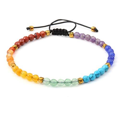 CrystalTears 7 Chakra Armband Damen Perlenarmabnd Armbänder aus 4mm Chakren Steinkugeln Vergolden Lavasteine Perlen geflochten Arm Kette