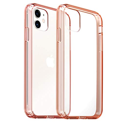 Compatible with iPhone 11 Case, Crystal Clear Case Hybrid with Hard Back Cover & Pink Soft TPU Raised Bumper Compatible with iPhone 11 6.1 inch 2019, Anti-Scratch Shock-Absorption, by Insten