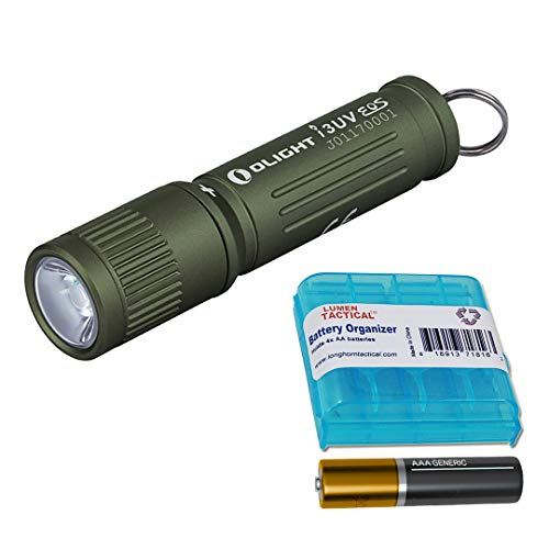 Olight I3UV EOS 395nm UV Ultraviolet Blacklight AAA Compact Keychain Light and LumenTac Battery Case