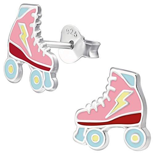 JAYARE Ohrringe Mädchen Rollschuhe Skater 925 Sterling Silber rosa-pink Kinder Ohrstecker
