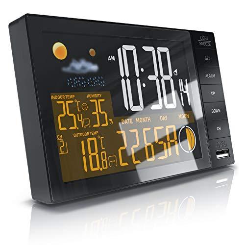 CSL - Funk Wetterstation Innen und Außen mit Außensensor - DCF Signal Funkuhr - Farbdisplay - Thermometer - Hygrometer - Mondphasen - Luftfeuchtigkeit - Wettervorhersage - Tendenzanzeige - Alarm