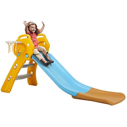 Albott Rutsche Kinder Kinderrutsche Kunststoff Kleinkinderrutsche mit Basketballkorb Gartenrutsche mit Rutschauslauf, für Kinder ab 4 Jahren für Drinnen und Draußen in Blau
