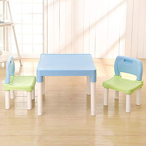 【3-10 Days DELIVERY】 Kids Plastic Table, Toddler Table and Chair Set Children Activity Art Table Set for Homeschooling, Homework,Play and Reading (Blue)