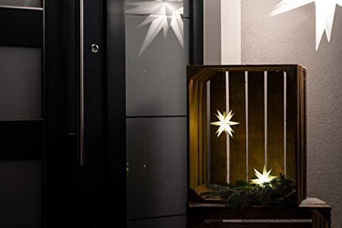 Weihnachtsstern 3D LED Weiss 18 Zack 12 cm Batterie Kunststoffstern Dekostern Fensterdeko Weihnachtsdeko Außen Stern beleuchtet