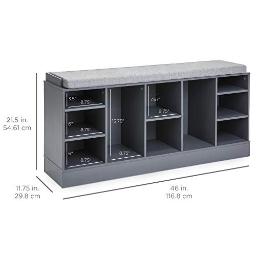 Best Choice Products 46in Multifunctional Space Saving Organization Storage Shoe Rack Bench for Entryway, Bedroom, Living Room w/Padded Seat, 10 Cubbies - Gray