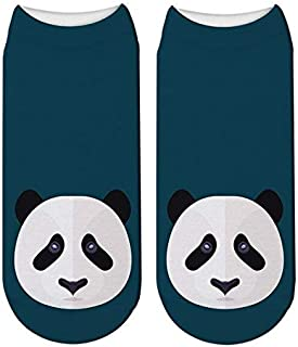 3 Pares Mujeres Hombres Moda Divertido 3D Imprimir Panda Cute Cartoon Animals Unisex Calcetines Head Sox