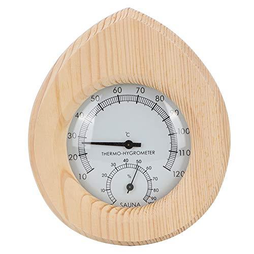 Termohigrómetro en Forma de Gota 2- en 1 Termohigrómetro de Madera Accesorios para Sala de Sauna para Controlar La Temperatura de Humedad