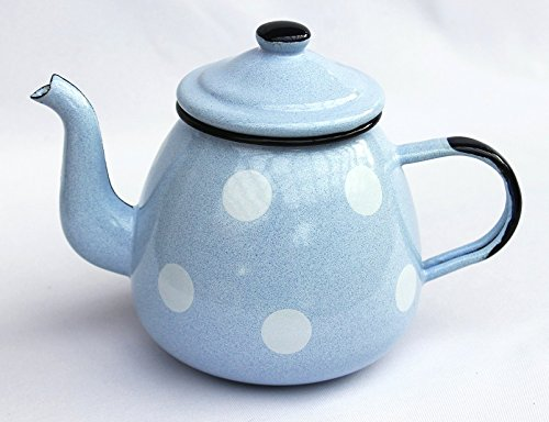 DanDiBo Teekanne 582AB Hellblau mit weißen Punkten 0,75 L emailliert 14cm Wasserkanne Kanne Kaffeekanne