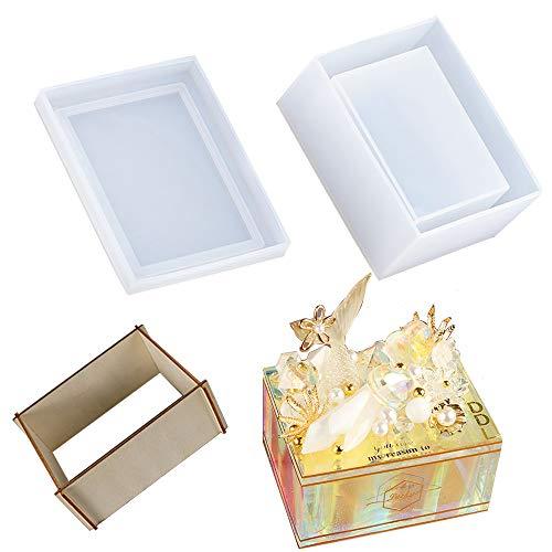 Tissue Box Resin Silicone Mold Jewelry Storage Epoxy Napkin Holder Mold for DIY Craft Jewelry Storage Trinket Gift Box Casting Molds Home Decoration