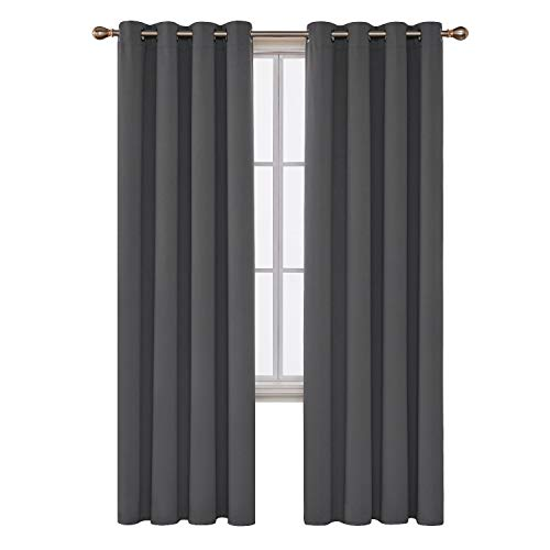 Deconovo Blackout Panel Thermal Insulated Room Darkening Curtain Draperies for Bedroom, 52x84 Inch, Dark Grey