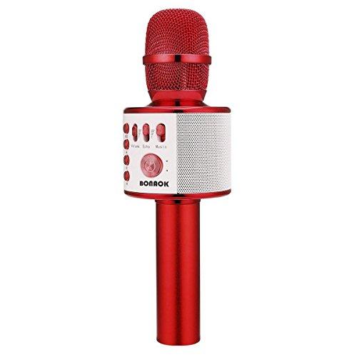 Micrófono Bluetooth BONAOK para Niños, Micrófonos de Karaoke Inalámbricos Portátiles 3 en 1, Música de Viaje para Fiestas, Máquina de Karaoke KTV, Compatible con Android e iOS (Rojo)