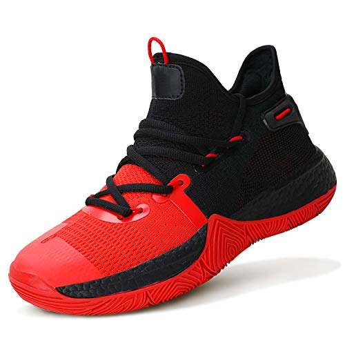 WETIKE Girls Basketball Shoes Comfortable Boys Shoes Non-Slip High Tops for Boys Durable Boys' Basketball Shoes Breathable Shoes for Boys Girls Sneakers Tennis Shoes Size 8 Red