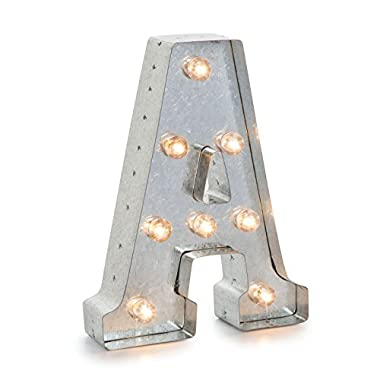 Darice Silver Metal Marquee Letter A – Industrial, Vintage Style Light Up Letter Includes an On/Off Switch, Perfect for Events or Home Décor (5915-702)