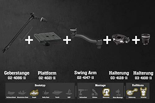 Railblaza Set: Kajak Native Echolot-Kit Geberstange + Plattform(102x102) + 2X Halterungen