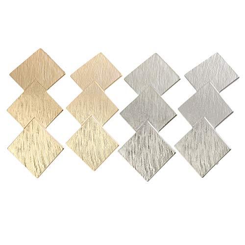 Lurrose 4 Stks Geometrische haarspeld clips ruit vorm haarspelden getextureerde haarclips creatieve haarspelden voor meisjes (goud/zilver/mist gouden/mist zilver)