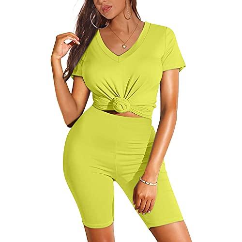 VESNIBA Conjunto de chándal para mujer, 2 piezas, suéter, pantalones largos, pantalones para correr, gimnasio, ropa deportiva y parte inferior amarillo L