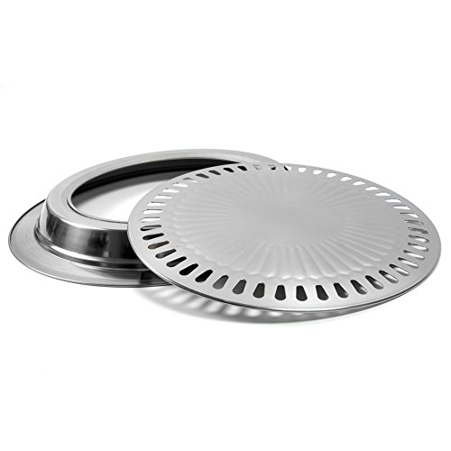 Korean Stovetop, Stainless Steel Non-Stick Smokeless Roasting Round Barbecue Grill Pan, for Indoor Outdoor BBQ, Cooking Delicious Roasted Food