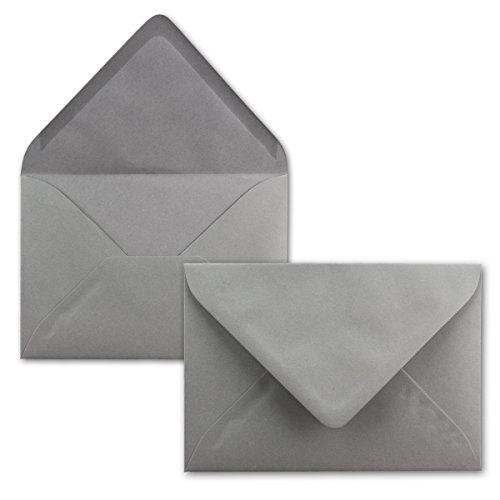 50 Brief-Umschläge - Graphit/Dunkel-Grau - DIN C6-114 x 162 mm - Kuverts mit Nassklebung ohne Fenster für Gruß-Karten & Einladungen - Serie FarbenFroh