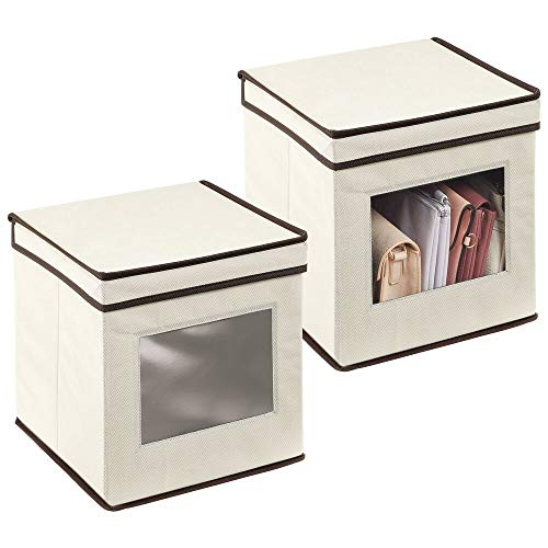 mDesign Soft Cube Fabric Stackable Closet Storage Organizer Box with Clear Window and Attached Hinged Lid for Bedroom, Hallway, Entryway, Closets, 2 Pack - Cream/Espresso Brown