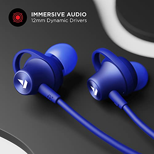 boAt Rockerz 245v2 Wireless Bluetooth V5.0, 8 Hours Playback Time, IPX5 Sweat and Water Resistance, in-Built mic and Voice Assistant(Navy Blue)