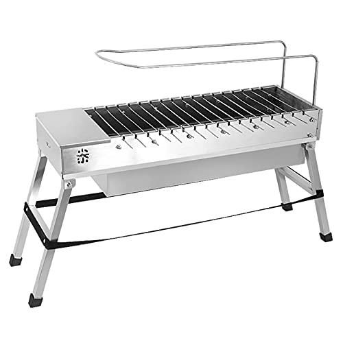 FEANG Grill Edelstahl Barbecue Grill Haushalt 5 Personen oder mehr Automatische elektrische Flip Carbon Spieße Herd Outdoor Tools Full Set Grillwerkzeug (Color : Silver)
