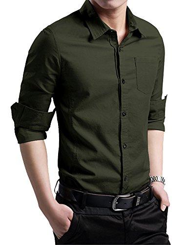 XTAPAN Men's Cotton Slim Fit Casual Long Sleeve Button Down Shirt Navy Green 4XL