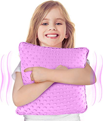 """Special Supplies Vibrating Pillow Sensory Pressure Activated Calm for Kids and Adults, 12"""" x 12"""" Plush Minky Soft Cover with Textured Therapy Stimulation Bumps, Purple"""