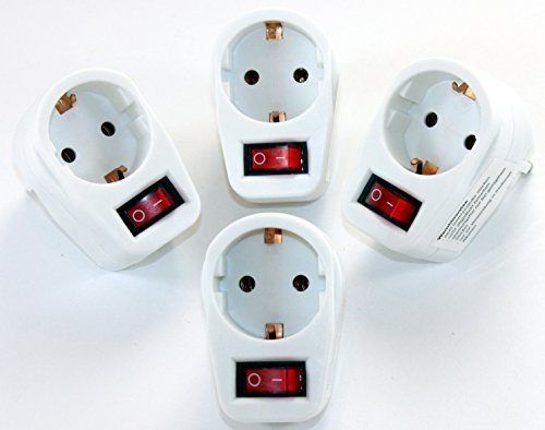 1-fach Steckdose mit Schalter Adapter 1fach Mehrsteckdose Multistecker Adapterstecker Schutzkontakt 606 (4 Stück)