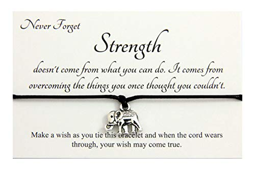 Life Inspirational,Strength Doesn't Come From What You Can Do Handmade Elephant Charm Wish bracelet,Organza Gift bag(Black)