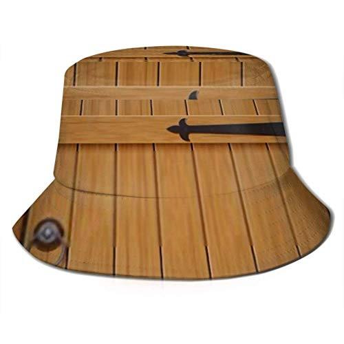 Gorra para el Sol Puerta de Arco de Madera Vieja Cerrada Cubo Hecho Protección para el Sombrero para el Sol Gorra de Pescador de Verano Empacable