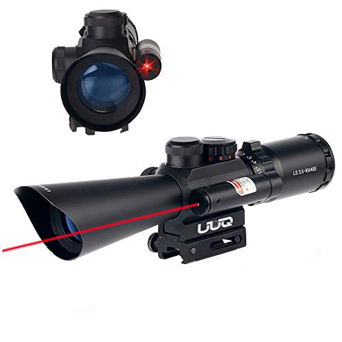 UUQ Tactical 3.5-10X40 Illuminated Red/Green Mil Dot Rifle Scope W/Red Laser Sight Fit 11/20mm Picatinny Rail