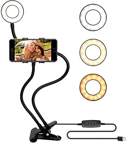 LAMTON Ring Ring Light Light Clip-on, Desktop Beautify Lámpara Teléfono móvil Soporte de transmisión en Vivo para fotografía, con 3 Modos de luz y 10 Niveles de Brillo