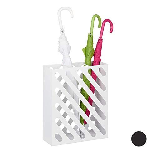 Relaxdays Parapluie XL, Porte-Cannes rectangulaire, Acier, Portable, 48 x 40 x 15 cm, Blanc, Weiß