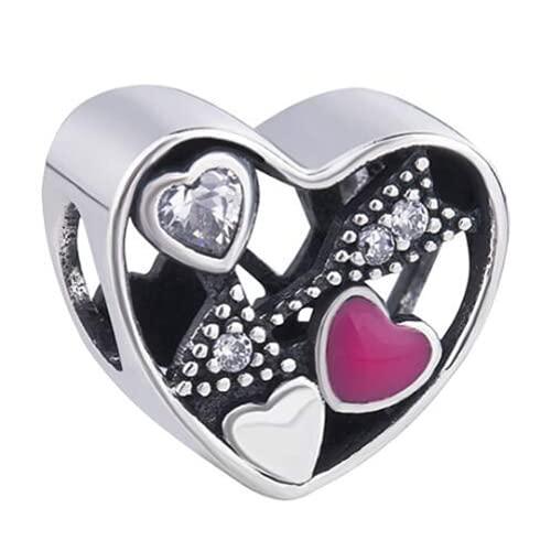 ZHANGCHEN Ażurowa zawieszka Love Struck Zawieszka ze srebra próby 925 z kryształową strzałą kupidyna, bransoletką i naszyjnikiem