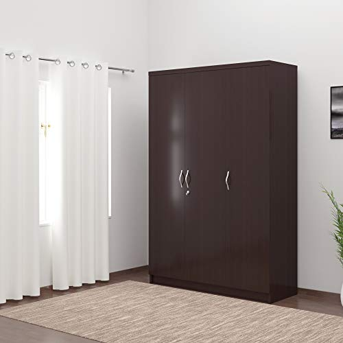 DeckUp Engineered Wood Matte Finish Uniti 3-Door Wardrobe (Dark Wenge)