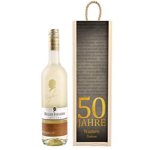 Herz & Heim® Maybach Wein-Geschenk zur Goldenen Hochzeit mit personalisierter Weinkiste - Weißwein zur Auswahl Weißer Burgunder