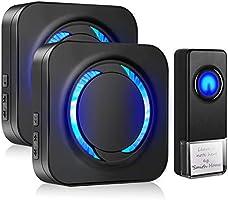 Wireless Doorbell Chime Waterproof Door Bell Kit, 56 Melodies, 5 Levels Adjustable Volume, Led Flash Indicator, 1 Push...