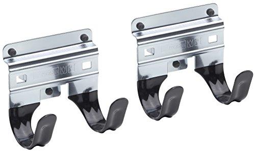 Meister Gerätehalter Doppelhaken - 2 Stück, lose - Leichte Montage - Für T-Griffe / Wandhalter / Werkzeughalter / Gartengeräte-Halter / Spatenhalter / 9952540