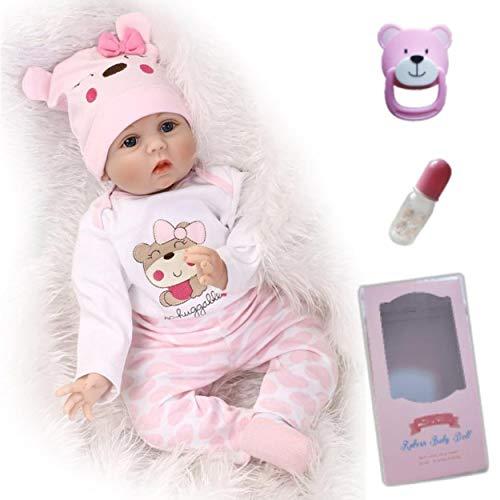 antboat 22 Pulgadas 55 cm Muñecas Reborn Bebé Niña Vinilo Silicona Suave Muñeca Bebé Recién Nacido Reborn Niña Vida Real Realista Bebe Reborn Silicona Reborn Doll